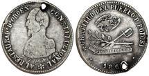 World Coins - Bolivia. Potosi. Silver 2-Soles-Sized Medal 1863, President Acha. VF
