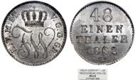 World Coins - Germany. Mecklenburg-Strelitz. Friedrich Wilhelm 1860-1904. Scarce 1/48 Taler 1862 A. NGC MS63