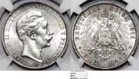 World Coins - Germany Empire. Prussia. Wilhelm II (1888-1918). Silver 3 Mark 1911 A. NGC MS63, toned