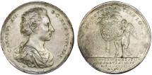 """World Coins - Sweden/Russia: 51mm Medal 1705. """"On the Swedish victory over the Russians at Gemauerthoff in Kurland"""".  VF"""