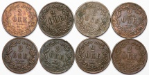 World Coins - Sweden: King Oscar II.  Lot of 8: AE 2 Ore 1857-1872. VF to VF+
