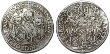 World Coins - Germany. Saxony-Albertinische Linie. Christian I, Johann Georg I and August I (1591-1601) AR Taler 1592 HB. VF