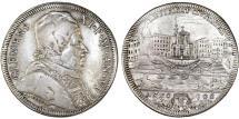 World Coins - Italy. Papal States: Rome. Clemente XI, Gianfrancesco Albani (1700-1721). AR Mezza Piastra 1706. VF, RARE COIN!;