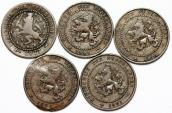 World Coins - Netherlands. Lot of 5 Coins. AE 1 Cent 1877-1906. Fine-VF