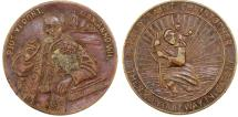 World Coins - Papal  States. Pope Pius IX (1846-1878). Bronze Behold Saint Christopher Medal 1854. VF
