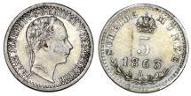 World Coins - Austria. Franz Joseph I. AR 5 Kreuzer 1863. VF