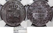 """World Coins - Kingdom of Poland under Russia. """"November Uprising"""" AE 3 Grosze 1831 KG. NGC MS61 BN"""