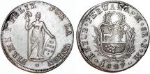 World Coins - Peru. Republic. AR 8 Reales 1827-JM (Lima). Nice XF.