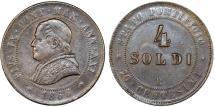 World Coins - Italian Papal States. Rome. Pope Pius IX (1846-1878). AE 4 Soldi 1866 R. Choice XF