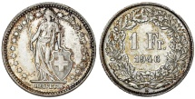 World Coins - Switzerland. AR 1 Frank 1946. AU+, Toned