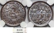 World Coins - Kingdom of Netherlands. Queen Wilhelmina. AE 1/2 Cent 1922. NGC MS64 BN