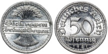 World Coins - Germany. Waimar Republic. 50 Reichspfennig 1921 J. BU