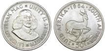 South Africa. Silver 50 Cents 1964. UNC