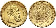World Coins - German States Wurttemberg. Karl, 1864-1892. Gold 20 Mark 1873-F.AU