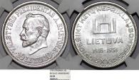 World Coins - Lithuania. Republic. Silver Commemorative 10 Litu 1938. NGC MS61, scarce