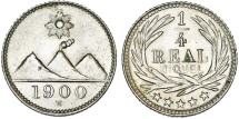 World Coins - Republic of Guatemala. CuNi 1/4 Real 1900. UNC