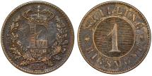 World Coins - Denmark. Frederick VII (1848-1863). AE 1 Skilling Rigsmont 1856. Choice VF