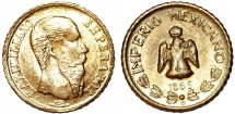 World Coins - Mexico. Maximilian. Gold Fantasy Coin (Token) 1865. AU