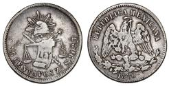 World Coins - Mexico. AR 25 Centavos 1880. VF+