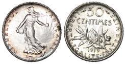 World Coins - France. AR 50 Centimes 1919. Choice UNC