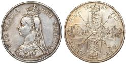 World Coins - Great Britain. Queen Victoria (1837-1901) AR Jubilee 2 Florins 1887. XF