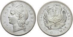 World Coins - Dominican Republic. AR Peso 1897.  VF