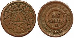 World Coins - Honduras. Republic. AE 1 Centavo 1891. VF