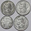 World Coins - France. Lot of 4 Coins: 2 to 5  Francs 1947-1949. XF-UNC.