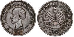 World Coins - Republic of Haiti , SINCE 1863. AE 10 Cents 1863. Nice VF