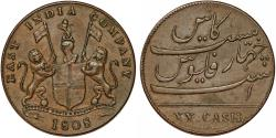 World Coins - Madras Presidency. British East India Company. SCARCE AE 20 Cash 1808. Choice XF