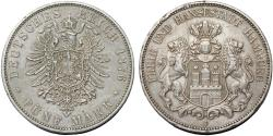 World Coins - Germany. Empire Period. City of Hamburg. AR 5 Mark 1876 J. Toned  XF, good date
