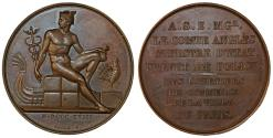 World Coins - France. Cont Angle as Prefect of Paris Police. AE Medal by Galle. (1818). Choice AU.