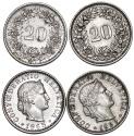 World Coins - Switzerland. Lot of 2. 20 Rappen 1959 (XF+). 1965 (UNC/AU)