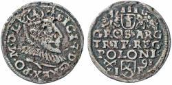 World Coins - Poland. Rzeczypospolita. king Sigismund III. 3 Gross 1598 I-F.  Nice Contermporary Counterfeit!