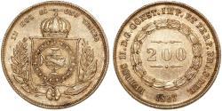 World Coins - Brazil. Pedro II. AR 200 Reis 1867. Choice  XF
