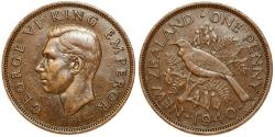 World Coins - New Zealand. George VI. AE 1 Penny 1940. AU