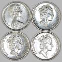 World Coins - Australia. Lot of 4 5 Cents 1988-1991. BU