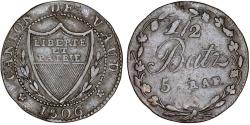 World Coins - Swiss Cantons. Vaud. BI 1/2 Batzen 1806. VF