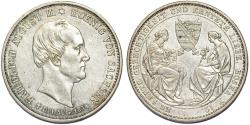 World Coins - Germany. Saxony. Friedrich August II (1836-1854). AR Commemorative Taler 1854. Choice XF/AU