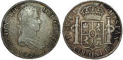 World Coins - Spanish Colony. Bolivia. Ferdinand VII (1808-1825). Silver 8 Reales 1825 PTS PJ. VF+/XF
