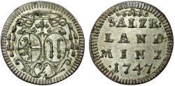 World Coins - Salzburg. Jakob Ernst von Liechtenstein (1745-1747) . AR 2  Kreuzer (1/2 Batzen) 1747. UNC
