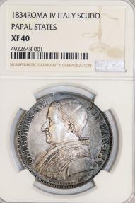 World Coins - Italian Papal States. Rome. Grégoire XVI (1831-1846), (Bartolomeo Alberto Cappellari). AR Scudo 1831. NGC XF40.