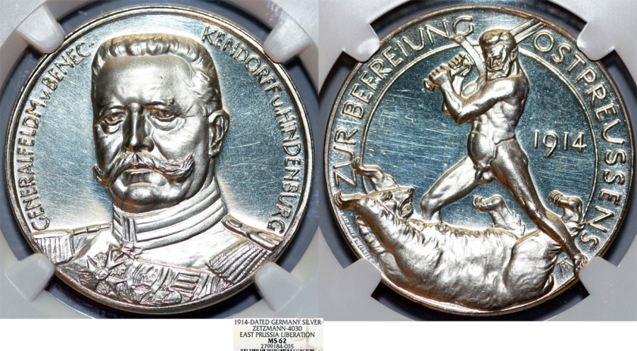 """World Coins - GERMANY. Paul von Hindenburg (General field marshal, 1914-1919). Silver Medal (1914) """"East Prussia Liberation"""" NGC MS62!."""