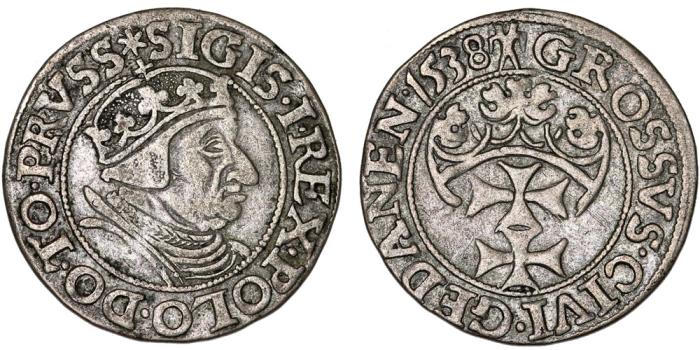 "World Coins - Poland. Danzig. king Sigismund I ""Old"" (1506-1548). AR Groschen 1538. Choice VF, toned, SCARCE!"