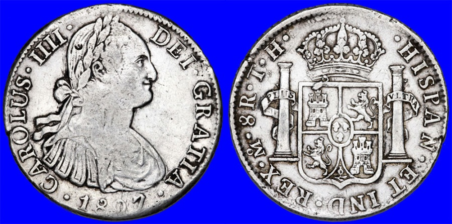 World Coins - Mexico. Charles IV of Spain. AR 8 Reales 1807 Mo TH. VF+