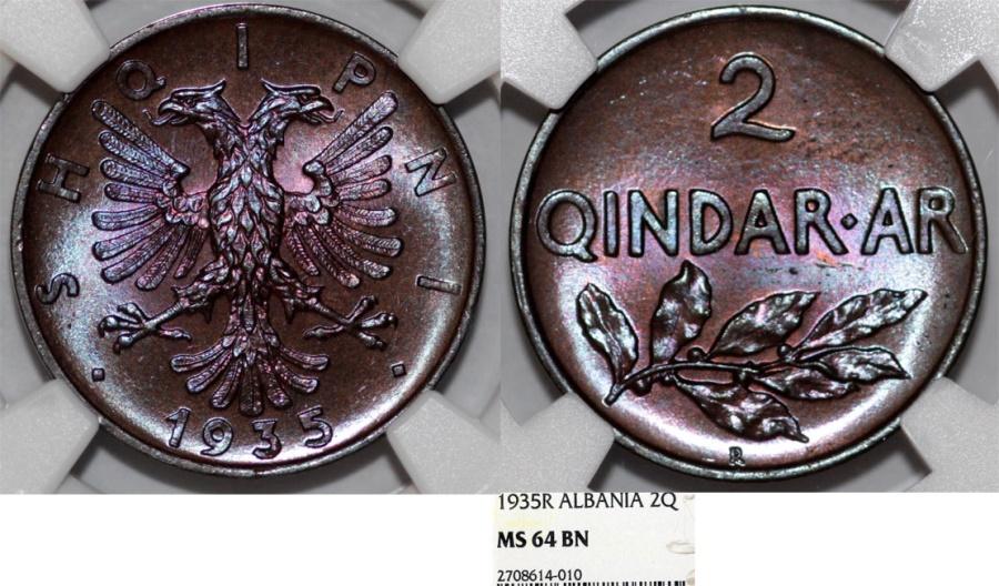 World Coins - Albania. Zog I. AE 2 Qindar-ar 1935 R. NGC MS64 BN, RARE BU!
