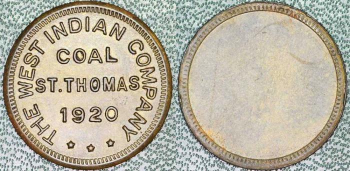 World Coins - Danish West Indies. St. Thomas. 1920 West Indian Coal Co. Coaling Tally. Choice XF, Rare!