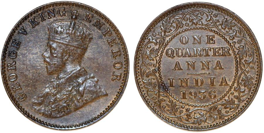 World Coins - British India. CU 1/4 Anna 1936. XF+/AU