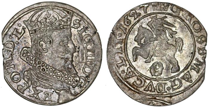 World Coins - Poland. Lithuania. G-Duke Sigismund III (1587-1632). AR Gross 1627. Choice VF