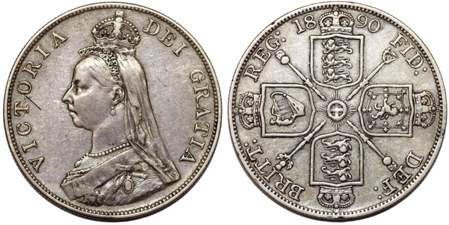 World Coins - Great Britain. Queen Victoria (1837-1901) AR 2 Florin 1890. Toned XF
